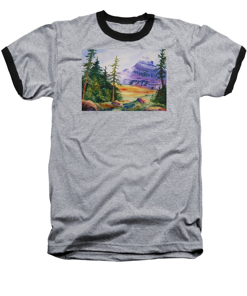 Landscape Baseball T-Shirt featuring the painting Logan Pass by Karen Stark