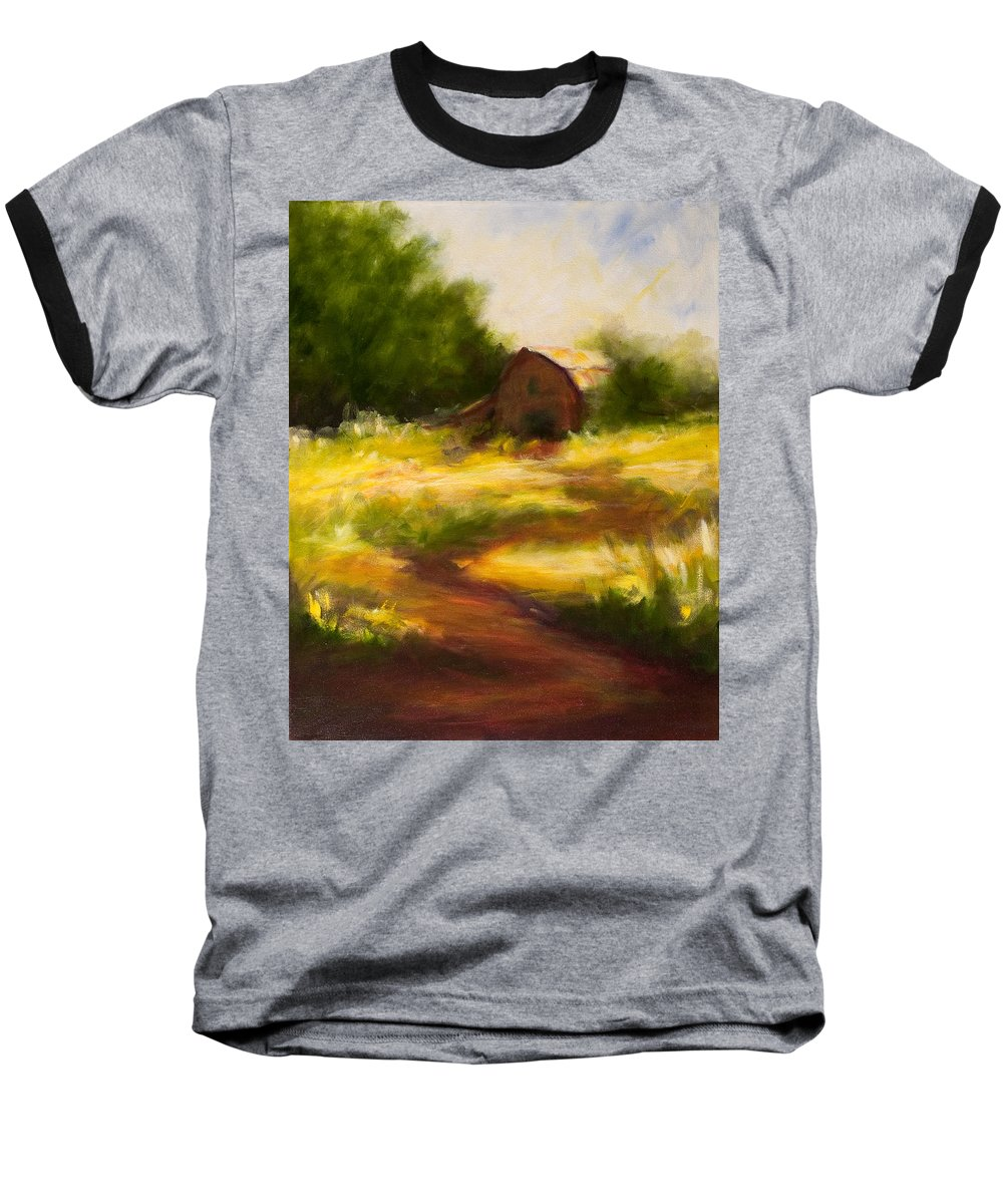 Landscape Baseball T-Shirt featuring the painting Long Road Home by Shannon Grissom