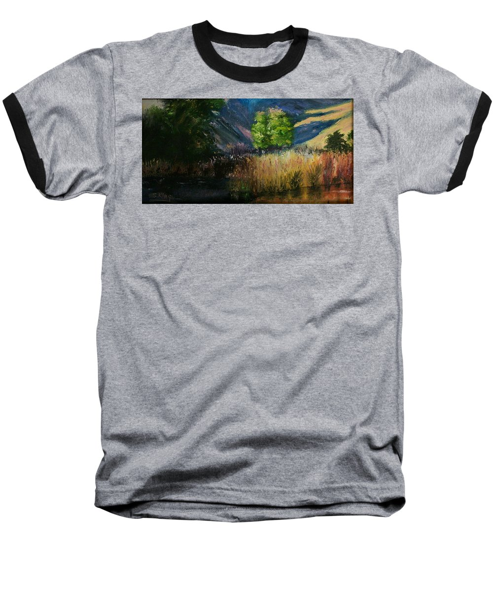 Landscape Baseball T-Shirt featuring the painting Long Shadows by Stephen King