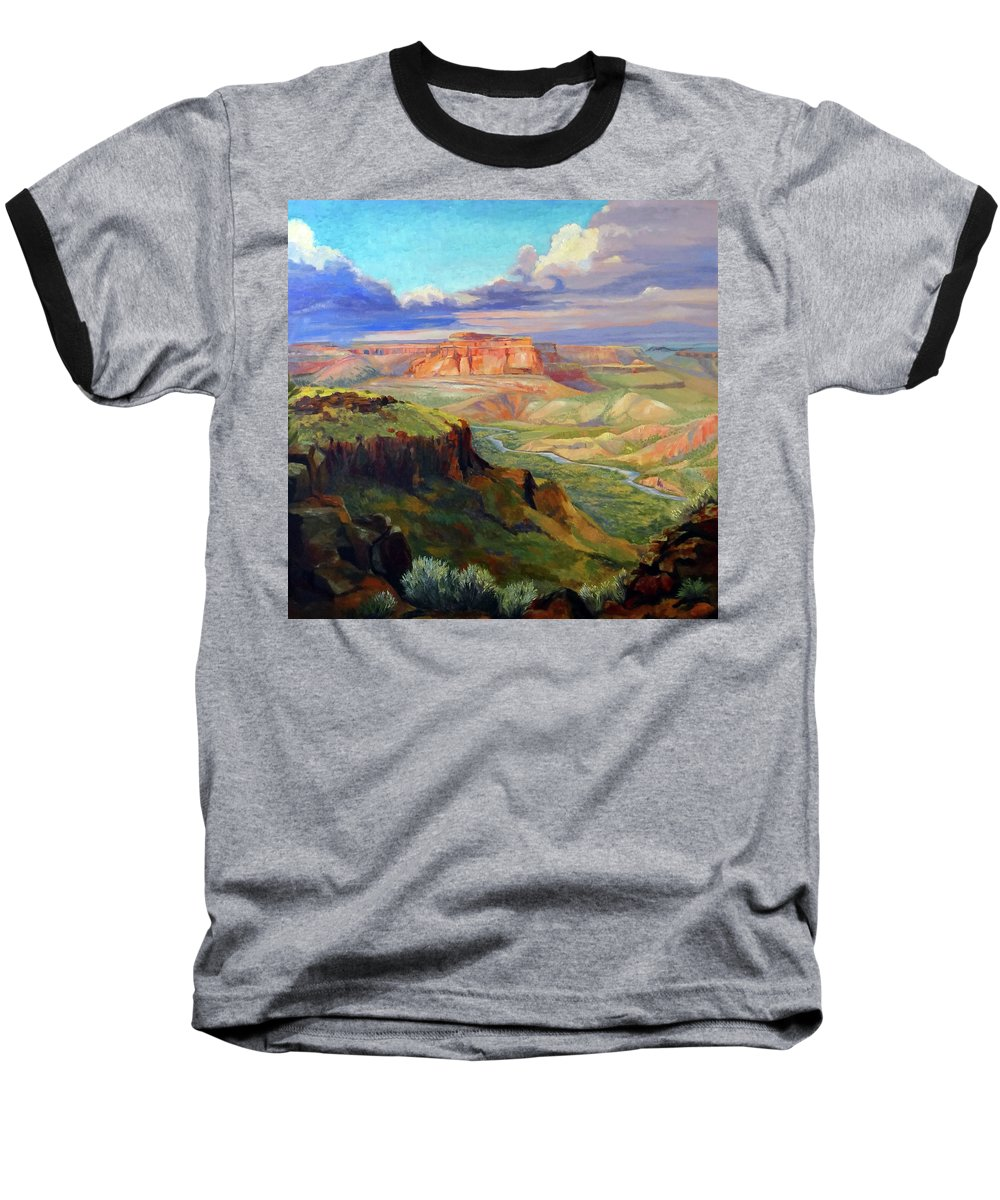 Landscape Baseball T-Shirt featuring the painting Look Out At White Rock by Nancy Paris Pruden