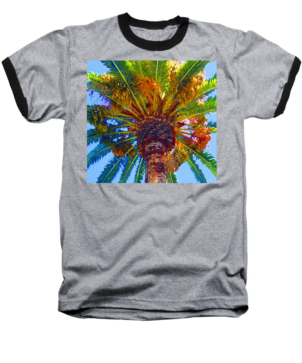 Garden Baseball T-Shirt featuring the painting Looking Up At Palm Tree by Amy Vangsgard