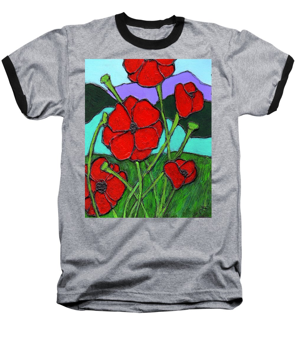 Poppies Baseball T-Shirt featuring the painting Looking Up by Wayne Potrafka