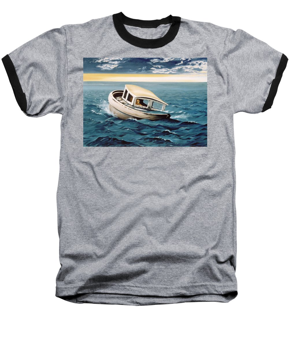 Seascape Baseball T-Shirt featuring the painting Lost At Sea by Mark Cawood