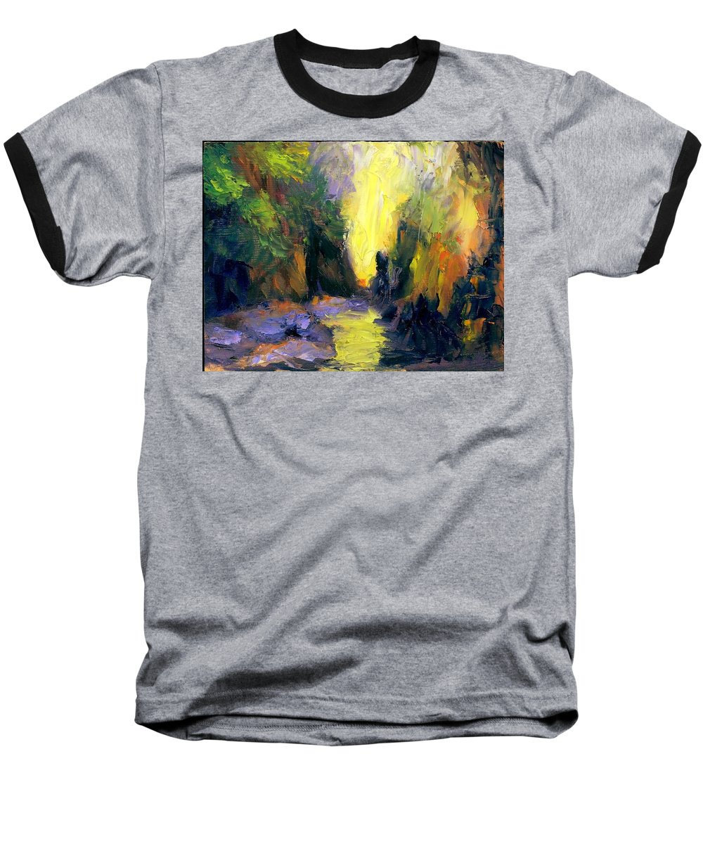 Landscape Baseball T-Shirt featuring the painting Lost Creek by Gail Kirtz