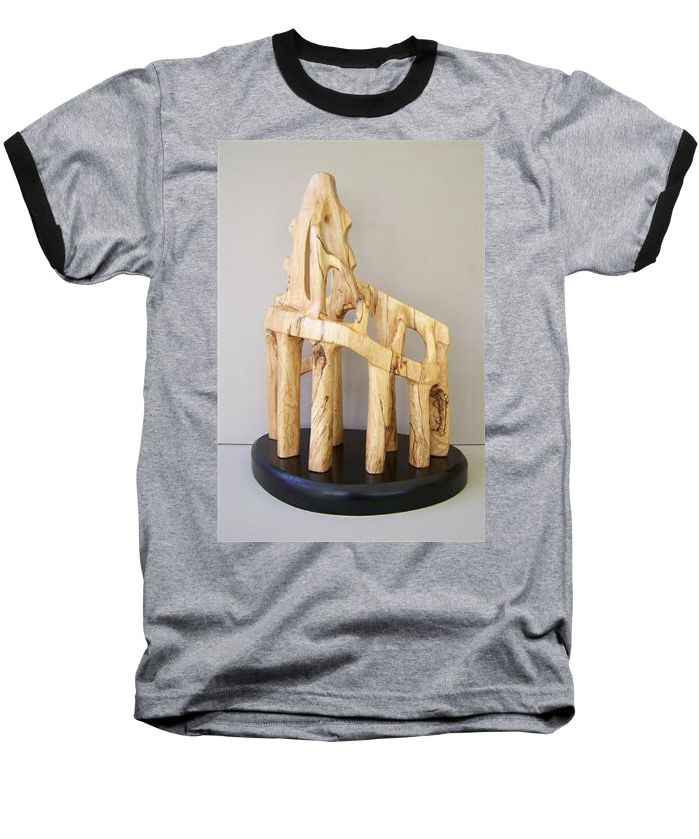 Wood-carving-sculpture-abstract- Baseball T-Shirt featuring the sculpture Lost Glory by Norbert Bauwens