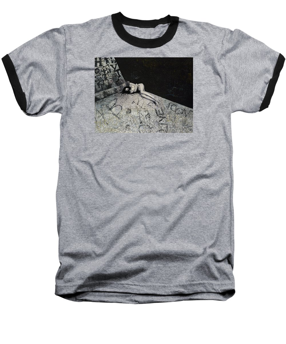 City Baseball T-Shirt featuring the painting Lost In New York by Yelena Tylkina