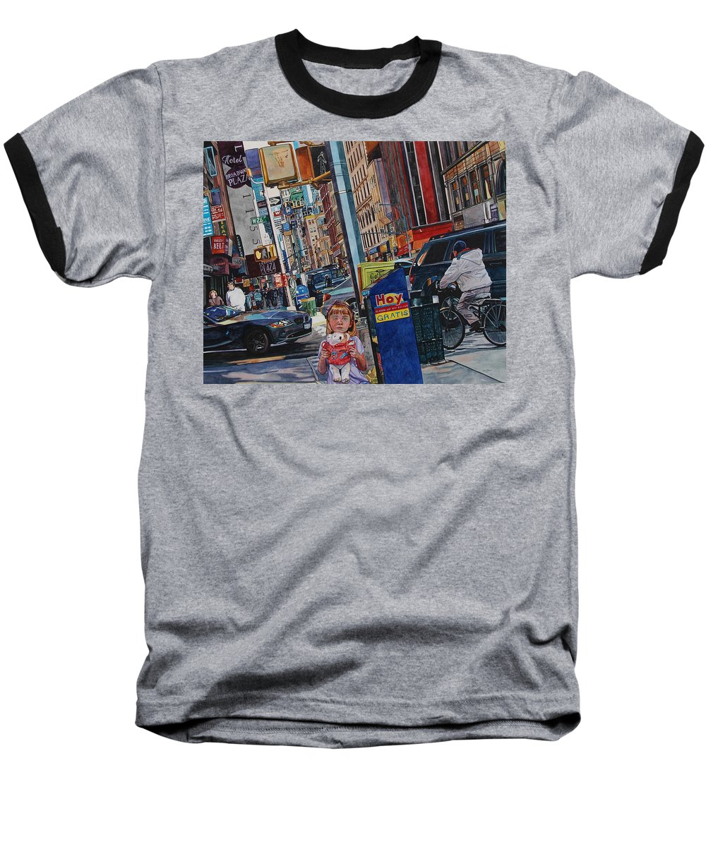 City Baseball T-Shirt featuring the painting Lost by Valerie Patterson