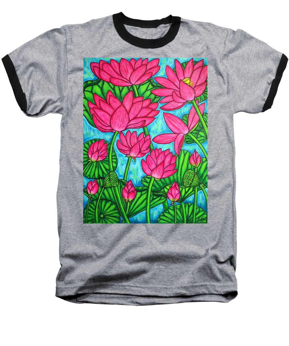 Baseball T-Shirt featuring the painting Lotus Bliss by Lisa Lorenz