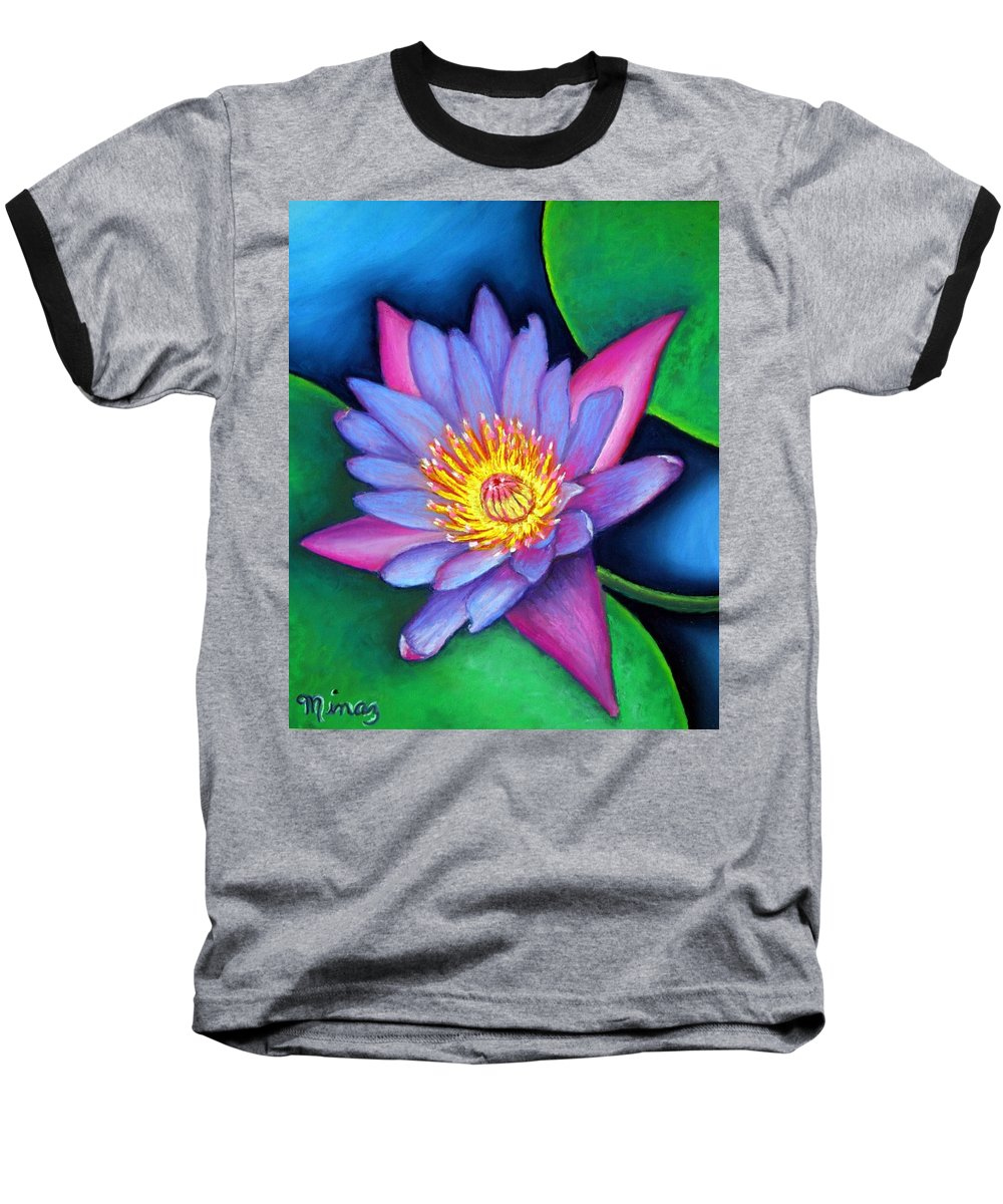 Flower Baseball T-Shirt featuring the painting Lotus Divine by Minaz Jantz