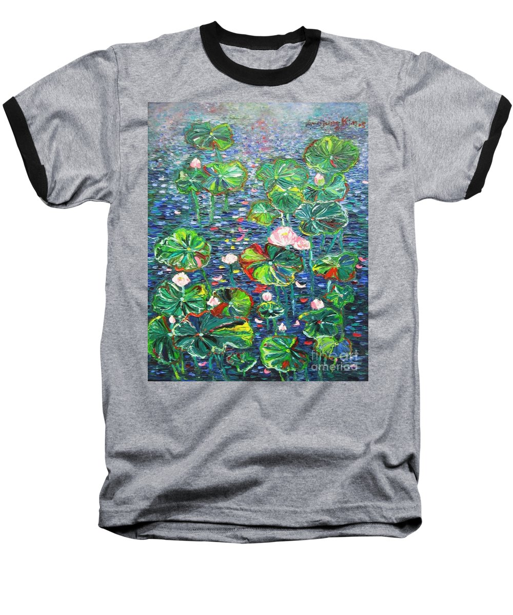 Water Lily Paintings Baseball T-Shirt featuring the painting Lotus Flower Water Lily Lily Pads Painting by Seon-Jeong Kim