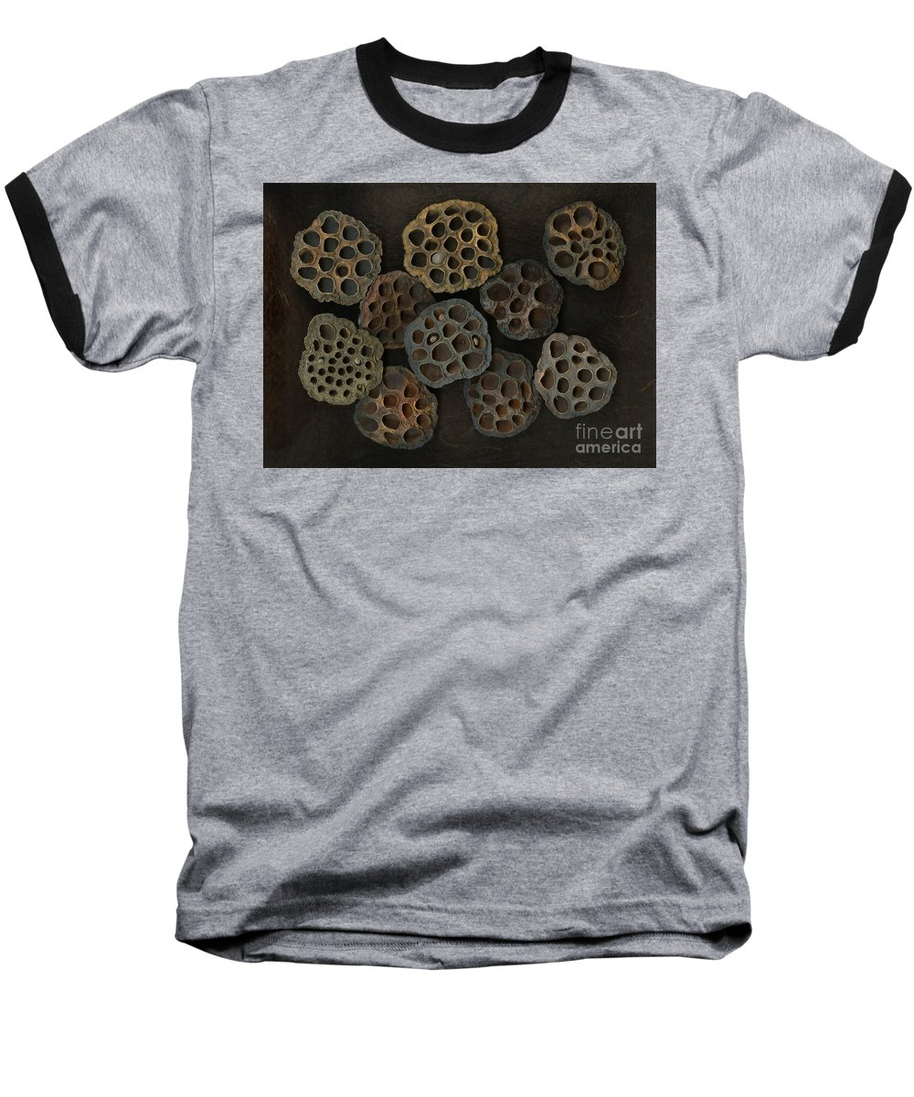 Lotus Baseball T-Shirt featuring the photograph Lotus Pods by Christian Slanec