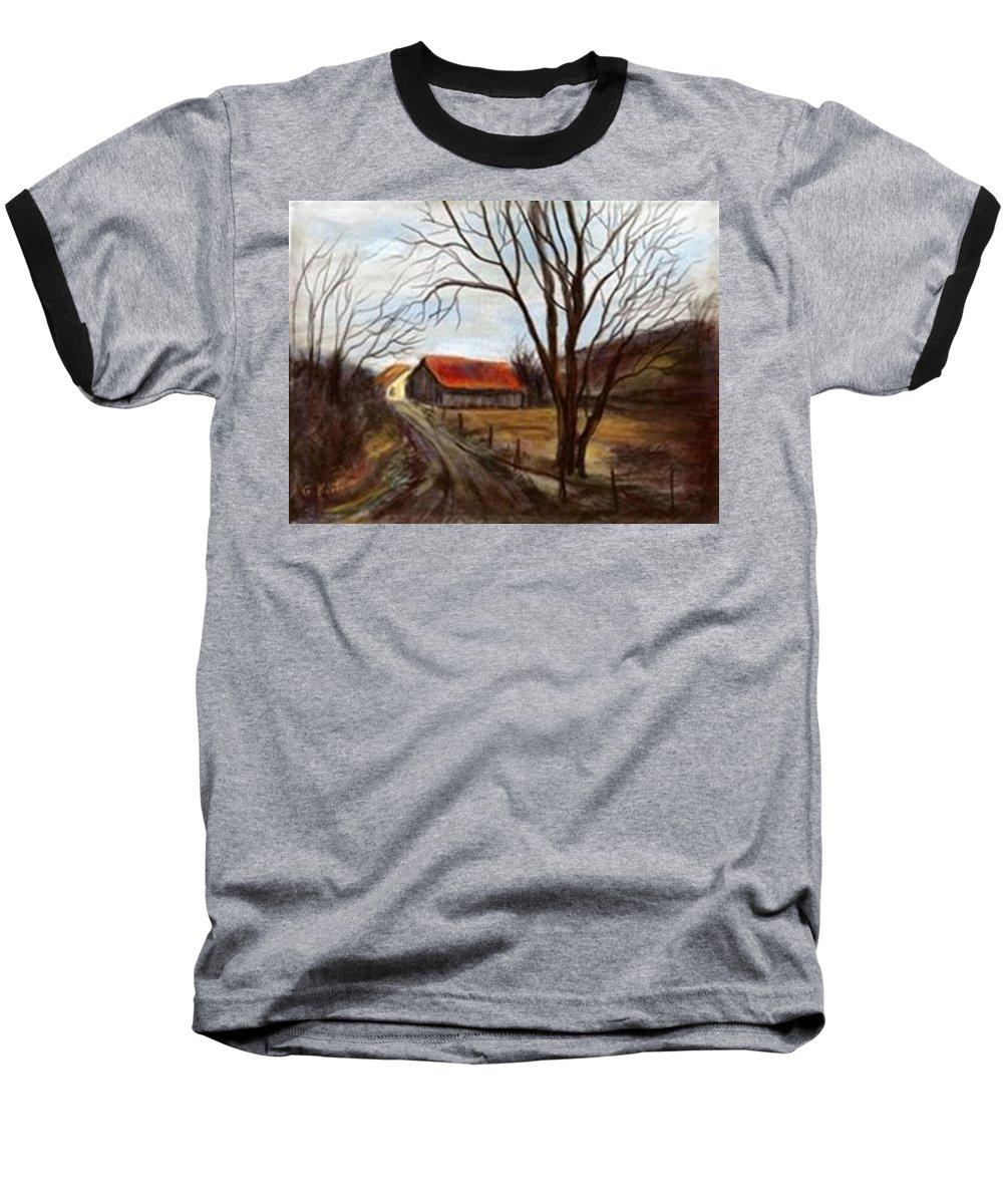 Barn Baseball T-Shirt featuring the painting Louisa Kentucky Barn by Gail Kirtz