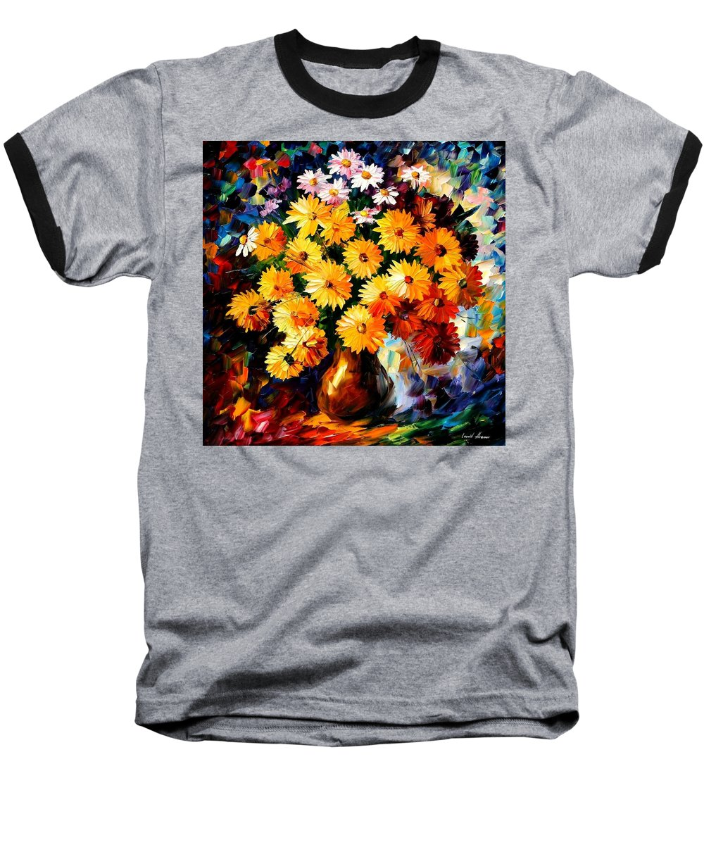 Flowers Baseball T-Shirt featuring the painting Love Irradiation by Leonid Afremov