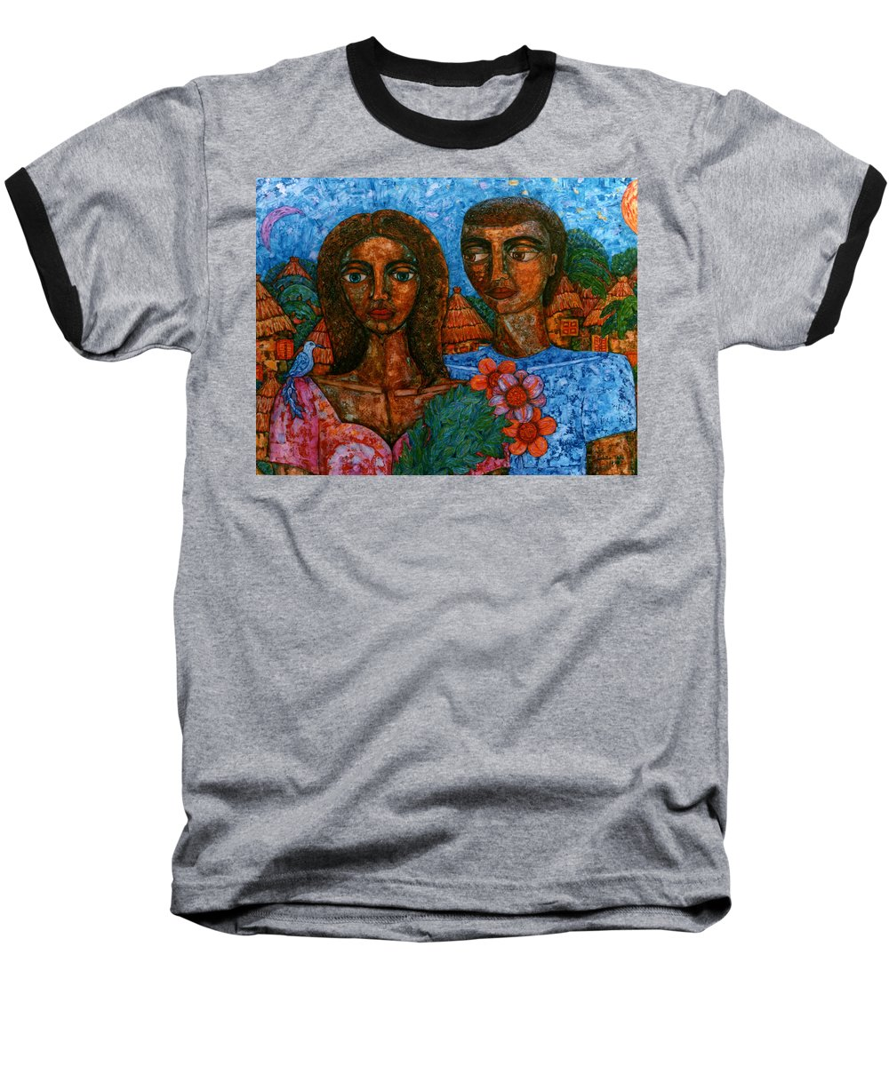 Love Baseball T-Shirt featuring the painting Love Is Like A Bird by Madalena Lobao-Tello