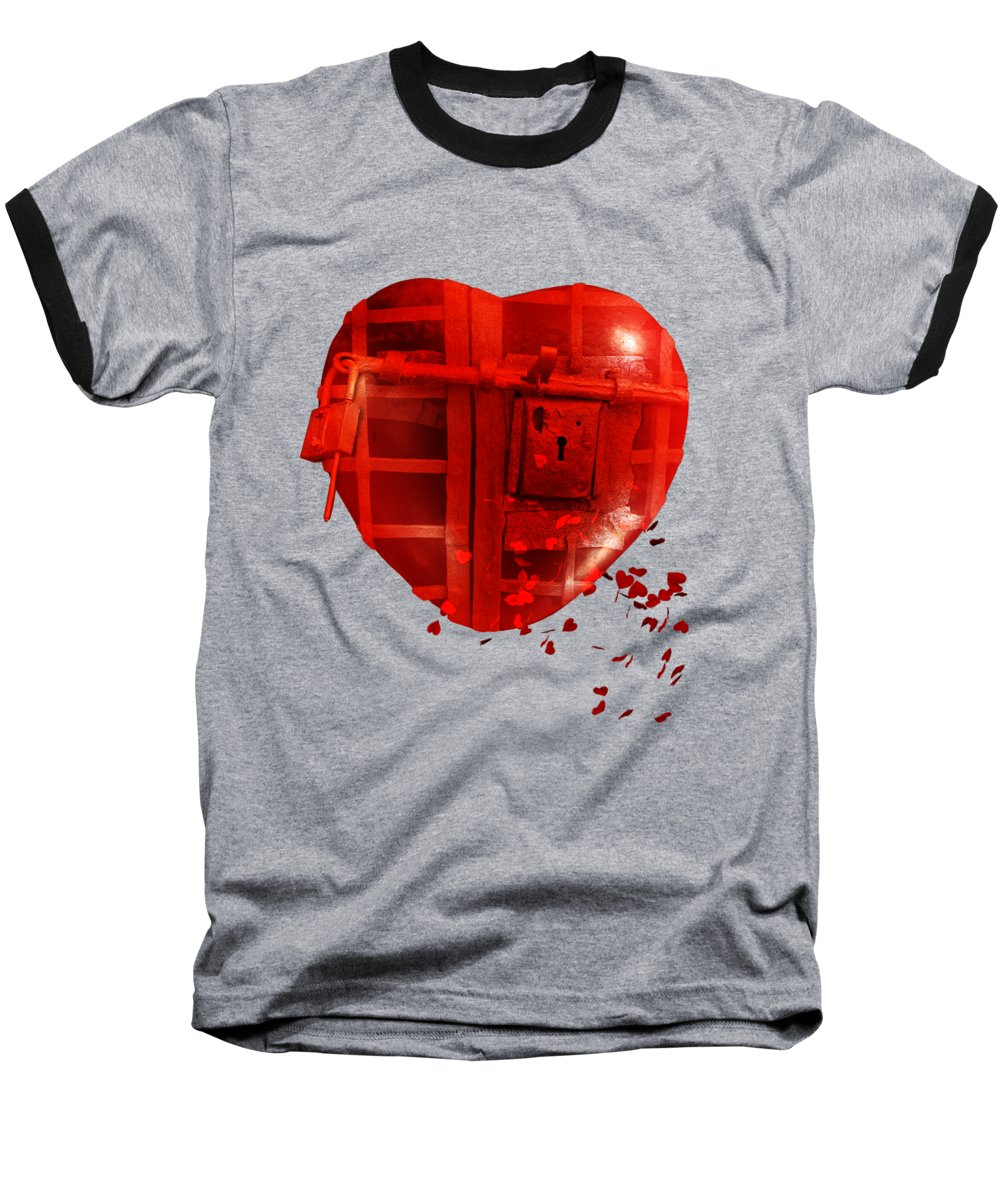 Amour Baseball T-Shirt featuring the digital art Love Locked by Linda Lees