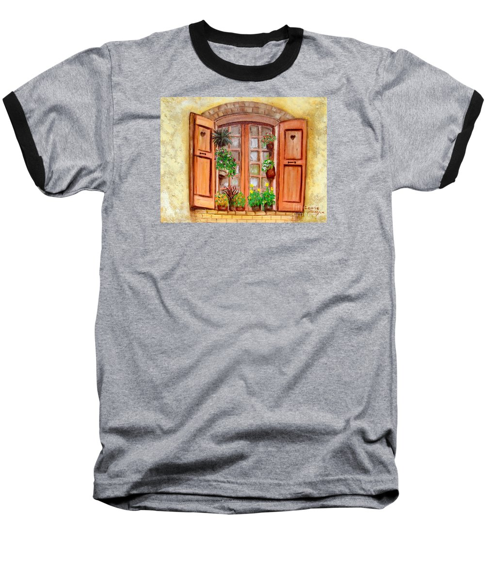 Windows Baseball T-Shirt featuring the painting Love Nest by Laurie Morgan
