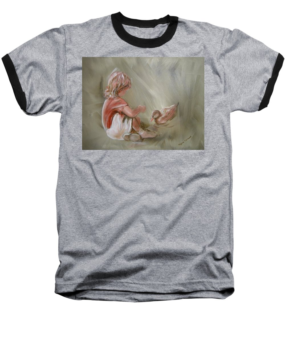 Girl Baseball T-Shirt featuring the painting Lunch Pals by Regina Walsh
