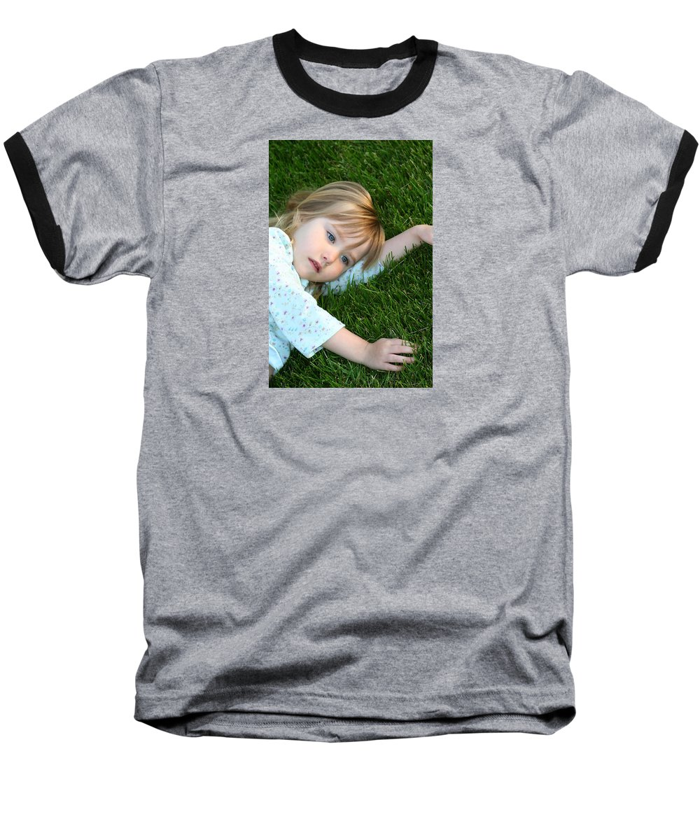 Girl Baseball T-Shirt featuring the photograph Lying In The Grass by Margie Wildblood