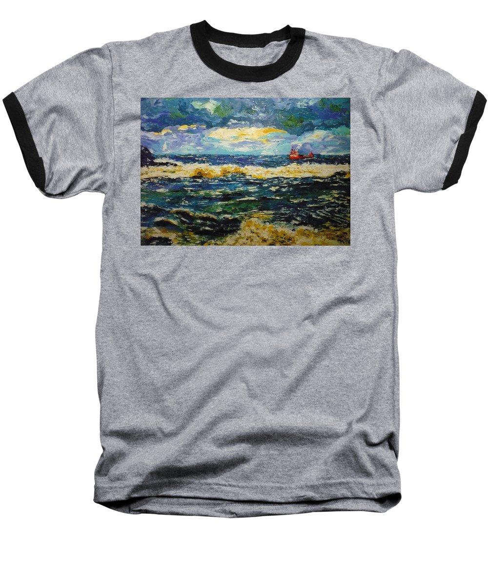 Sea Baseball T-Shirt featuring the painting Mad Sea by Ericka Herazo