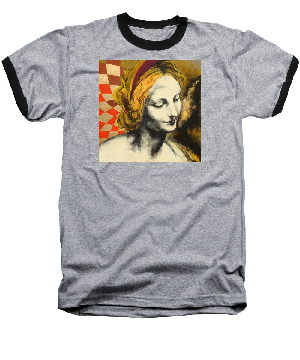 Pop Baseball T-Shirt featuring the painting Madona Face by Jean Pierre Rousselet