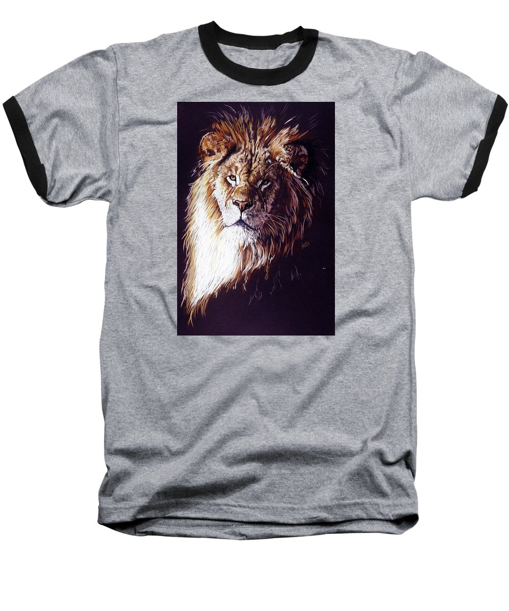 Lion Baseball T-Shirt featuring the drawing Maestro by Barbara Keith