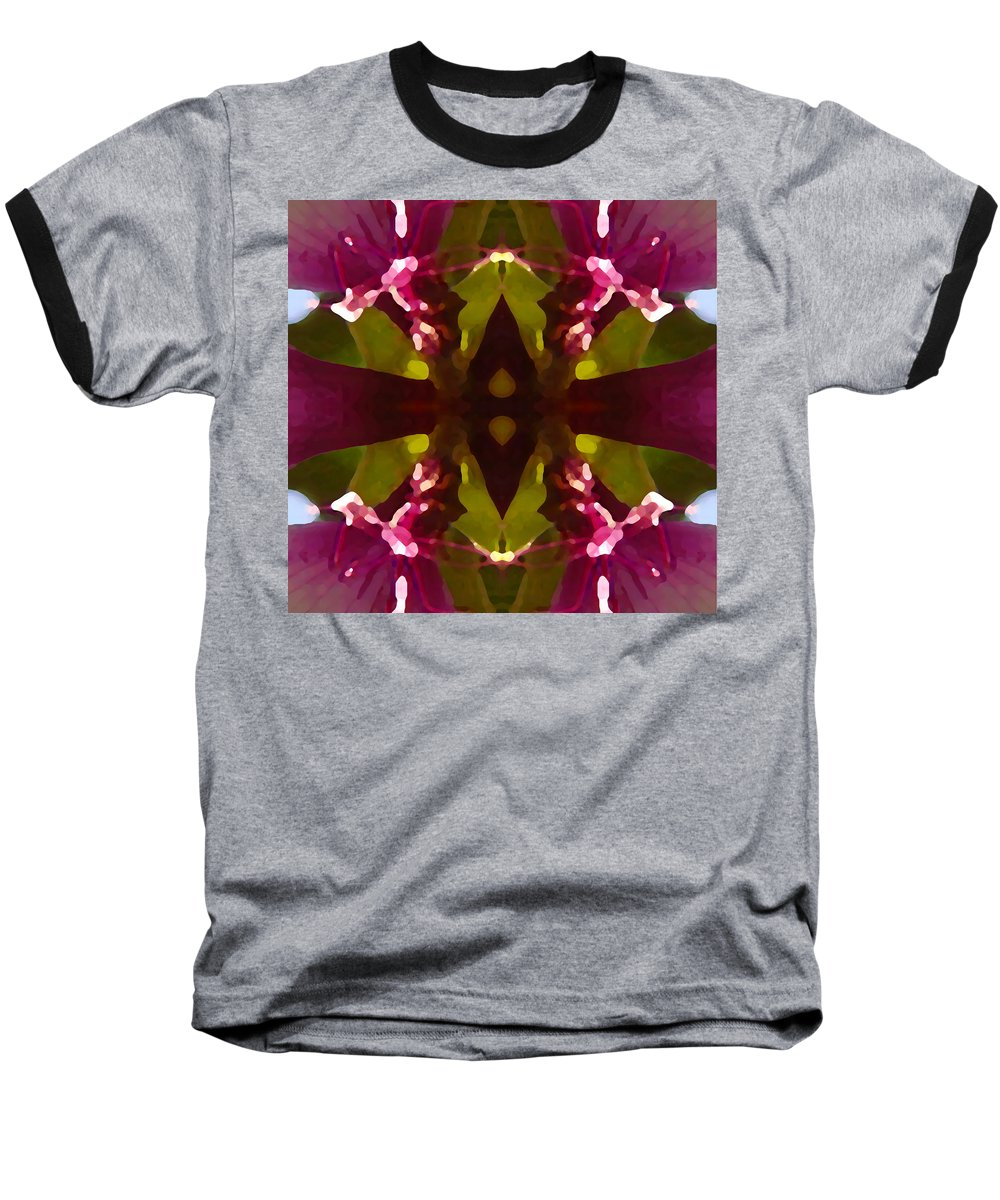 Abstract Painting Baseball T-Shirt featuring the digital art Magent Crystal Flower by Amy Vangsgard