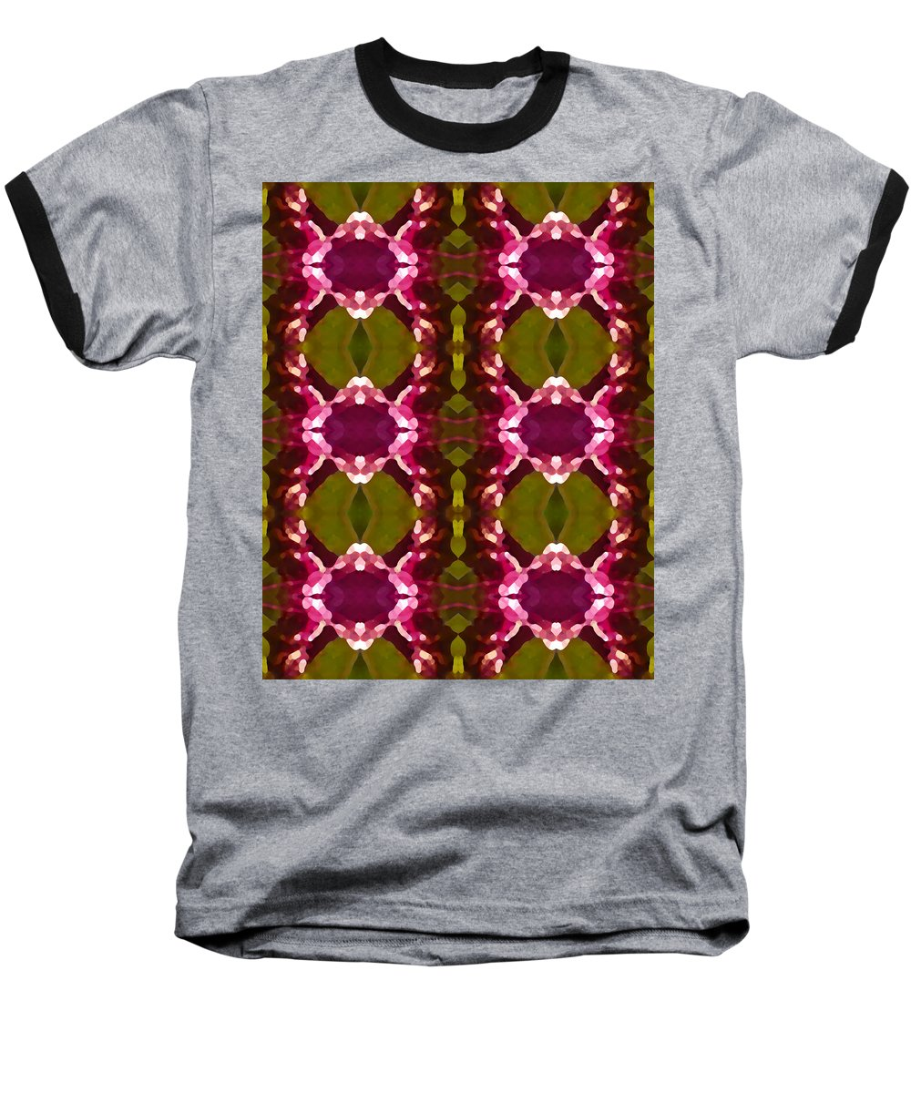 Abstract Baseball T-Shirt featuring the painting Magenta Crystal Pattern by Amy Vangsgard