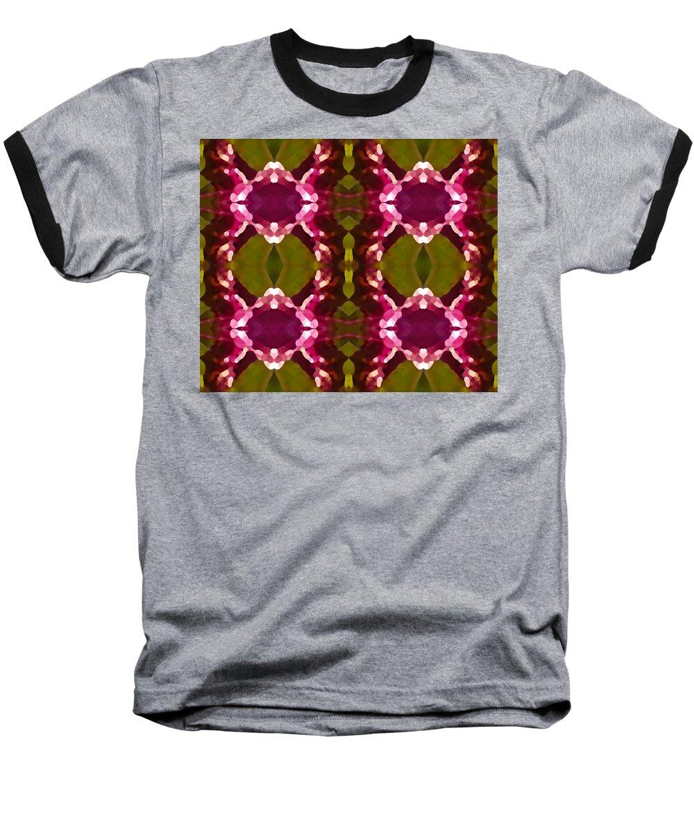 Abstract Painting Baseball T-Shirt featuring the digital art Magenta Crystals Pattern 2 by Amy Vangsgard