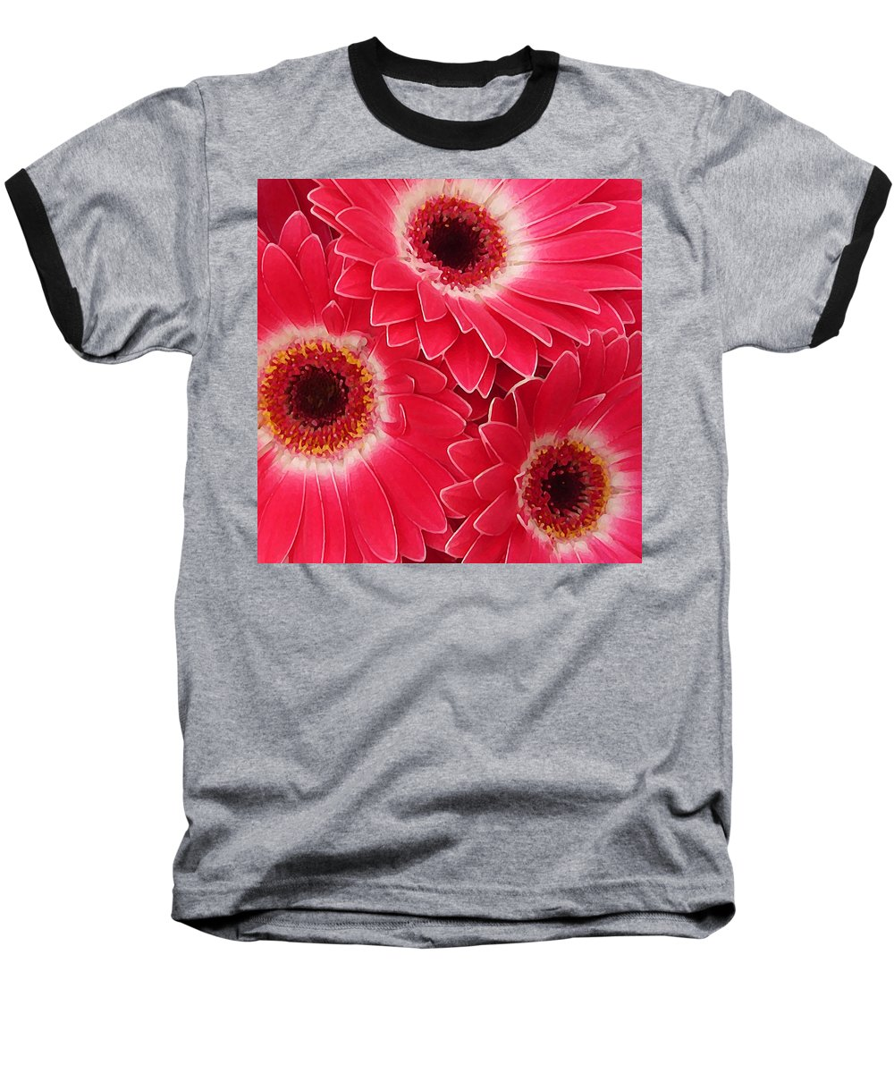 Daisy Baseball T-Shirt featuring the painting Magenta Gerber Daisies by Amy Vangsgard