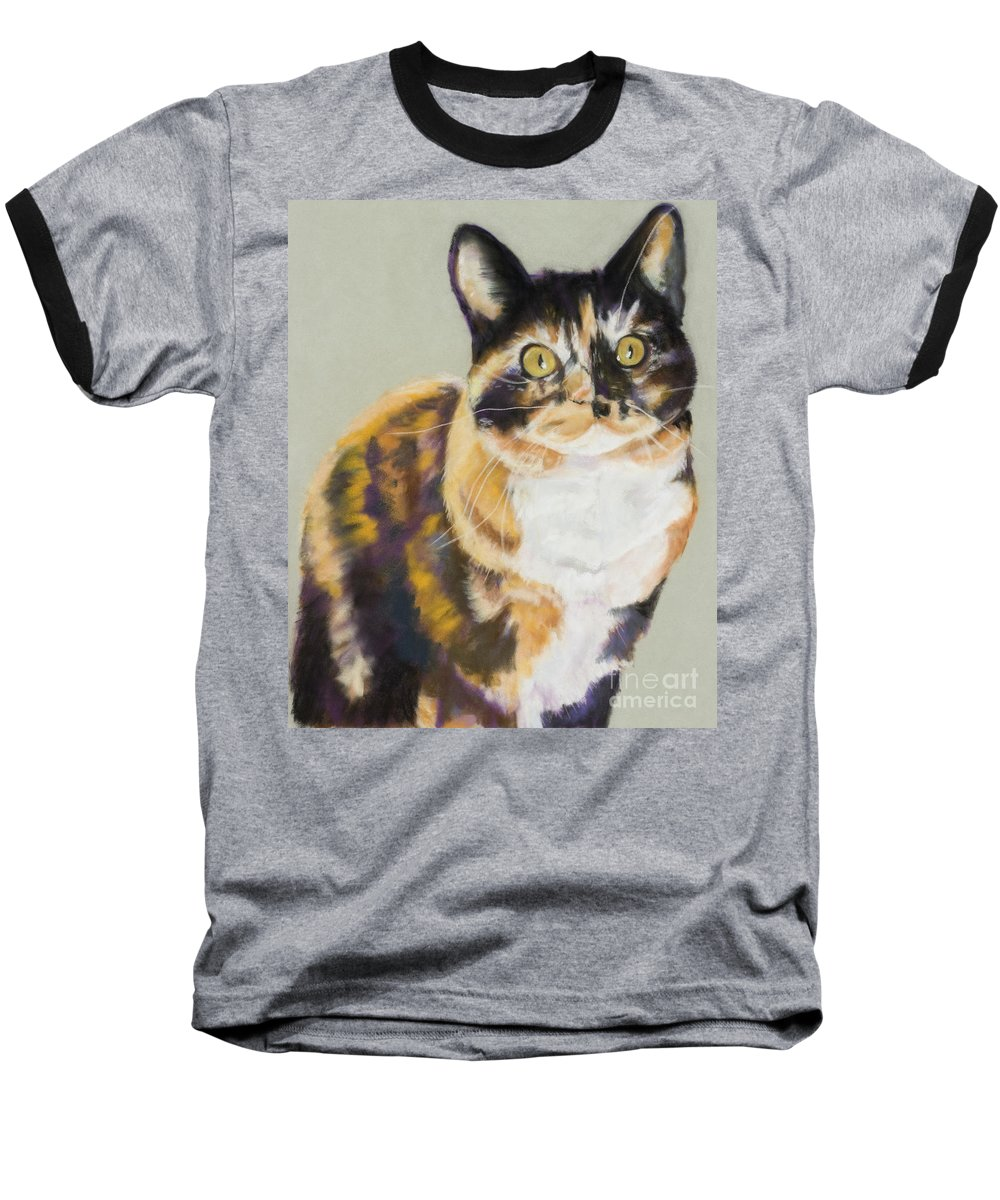 Calico Baseball T-Shirt featuring the painting Maggie Mae by Pat Saunders-White