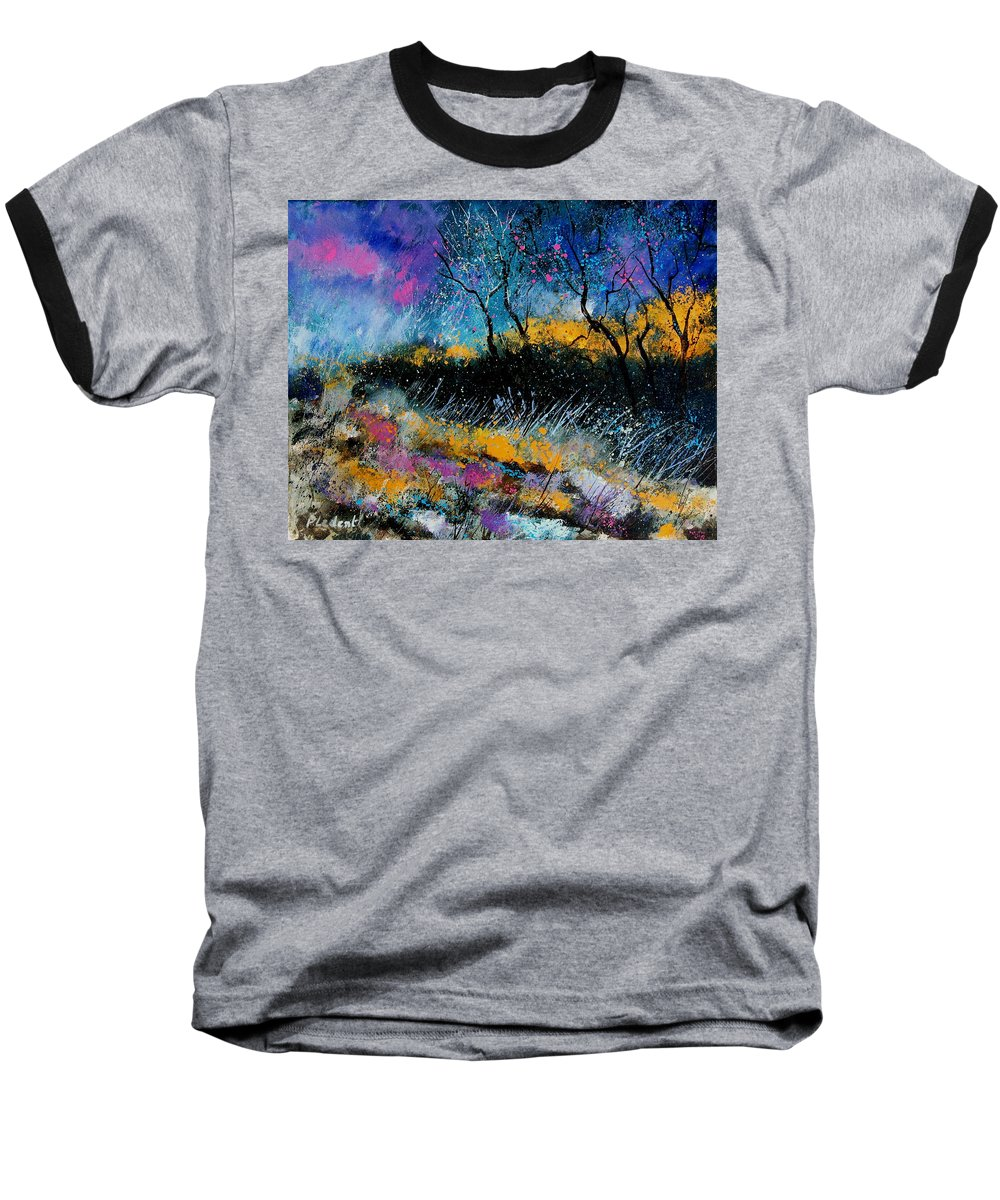 Landscape Baseball T-Shirt featuring the painting Magic Morning Light by Pol Ledent