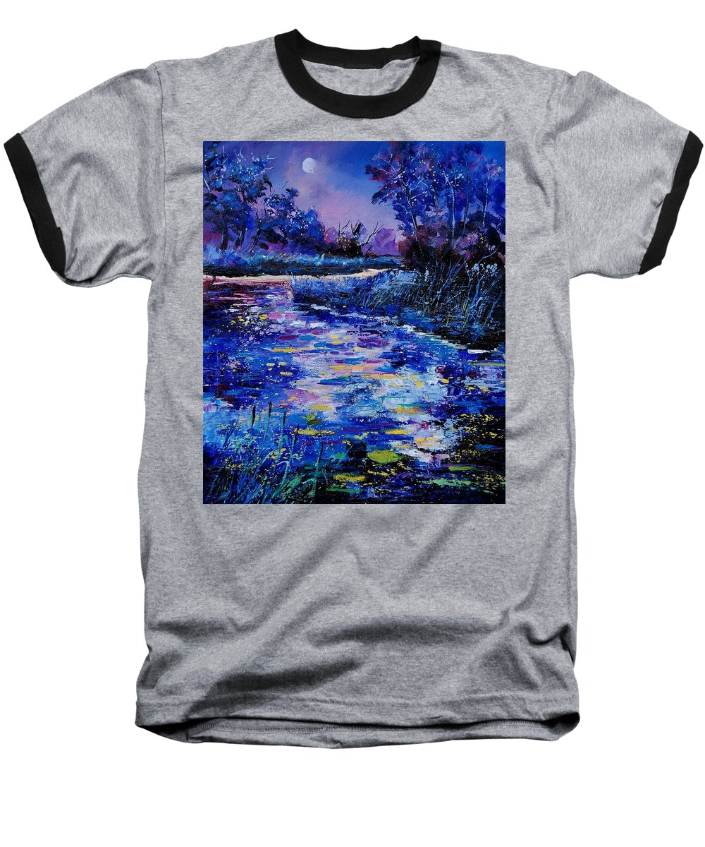 River Baseball T-Shirt featuring the painting Magic Pond by Pol Ledent
