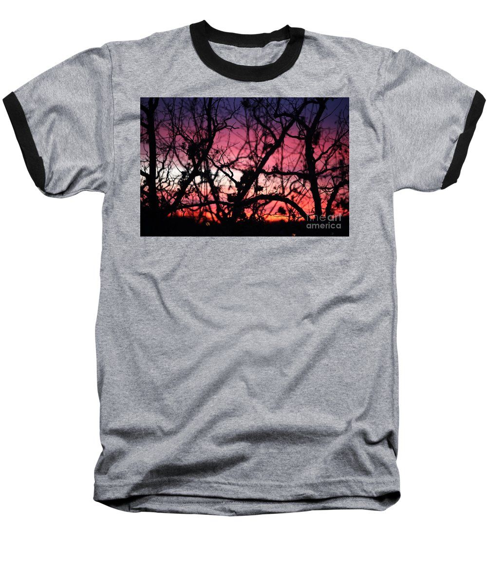 Sunset Baseball T-Shirt featuring the photograph Magnificent Sunset And Trees by Nadine Rippelmeyer