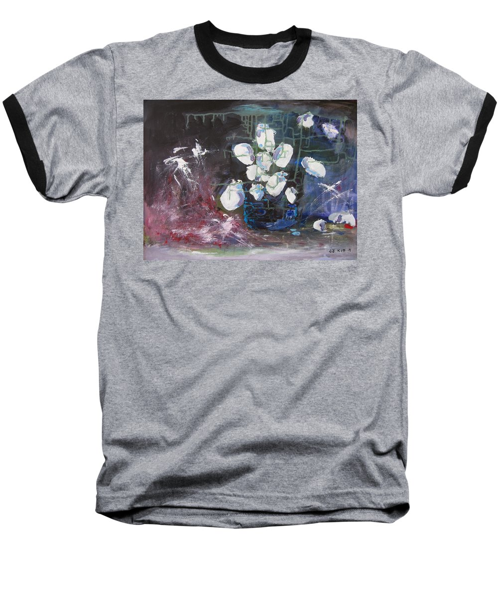 Abstract Paintings Baseball T-Shirt featuring the painting Magnolia by Seon-Jeong Kim