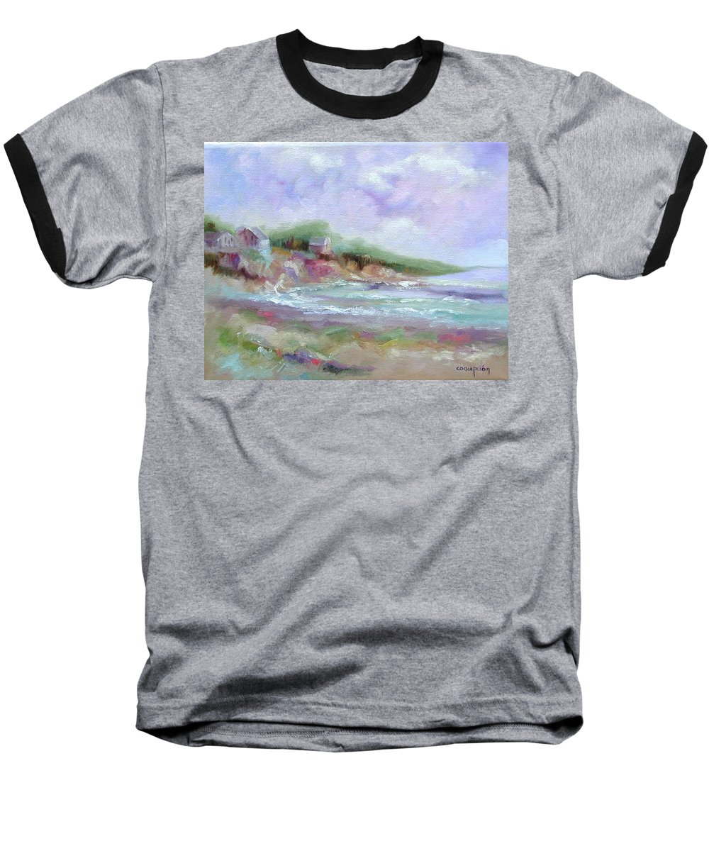 Maine Coastline Baseball T-Shirt featuring the painting Maine Coastline by Ginger Concepcion