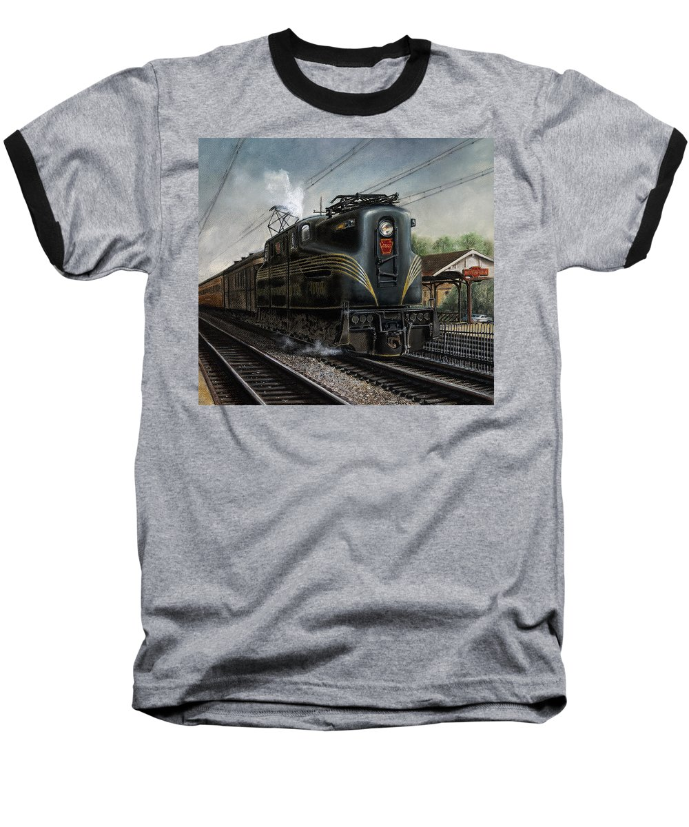 Trains Baseball T-Shirt featuring the painting Mainline Memories by David Mittner