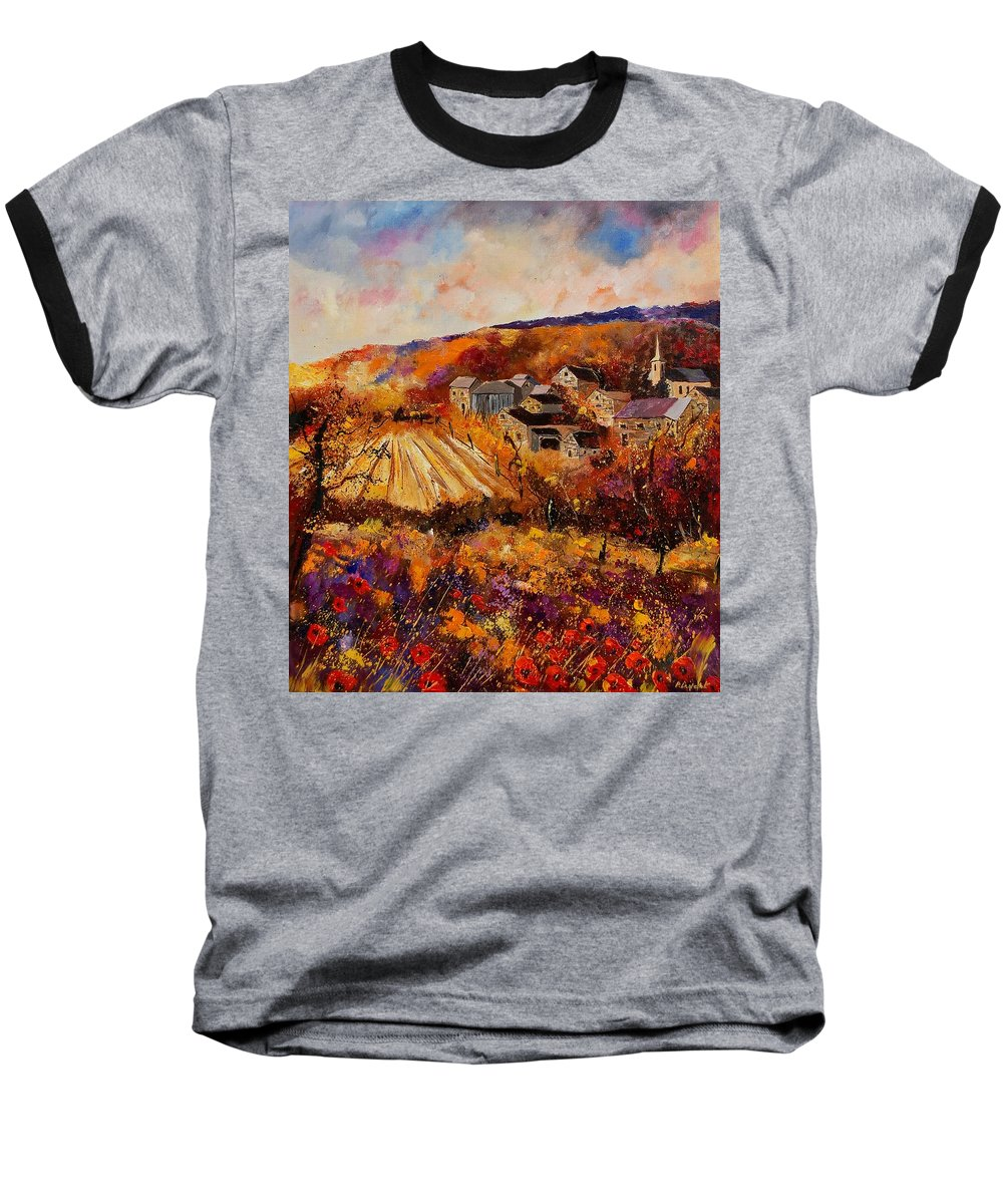 Poppies Baseball T-Shirt featuring the painting Maissin by Pol Ledent