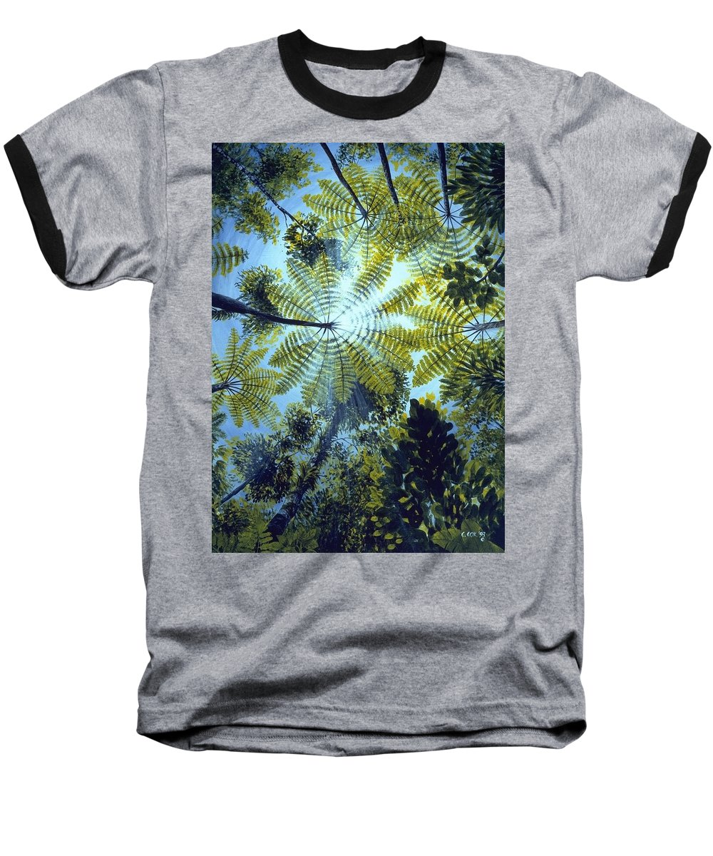 Chris Cox Baseball T-Shirt featuring the painting Majestic Treeferns by Christopher Cox
