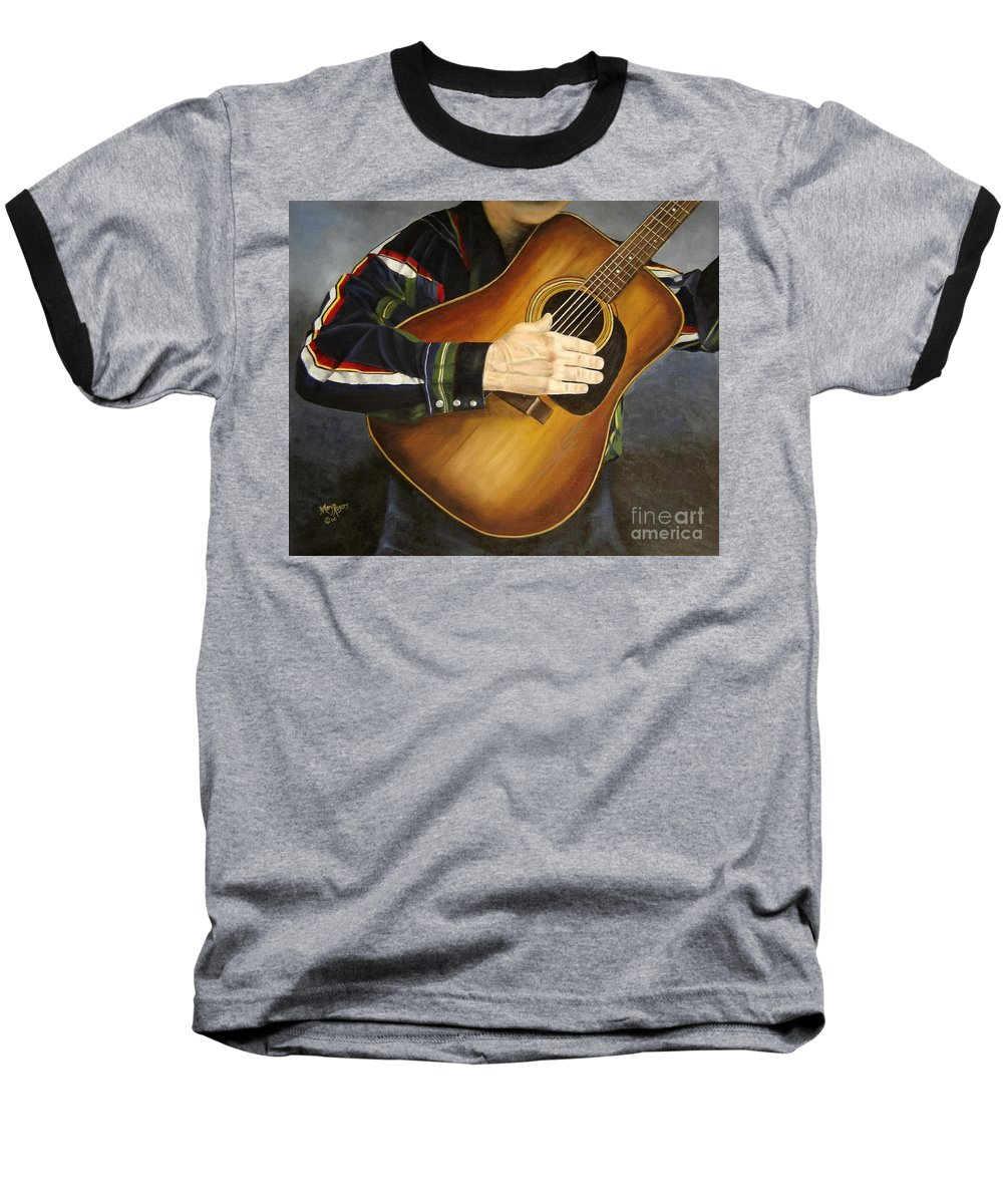 Usa Baseball T-Shirt featuring the painting Making Music by Mary Rogers