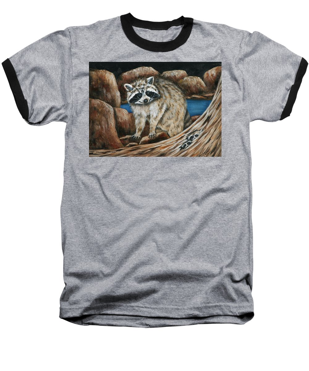 Racoon Baseball T-Shirt featuring the painting Mama Racoon by Ruth Bares