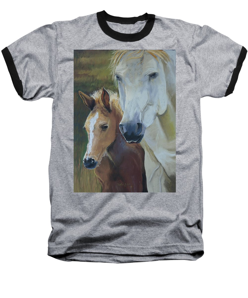 Horses Baseball T-Shirt featuring the painting Mama's Boy by Heather Coen
