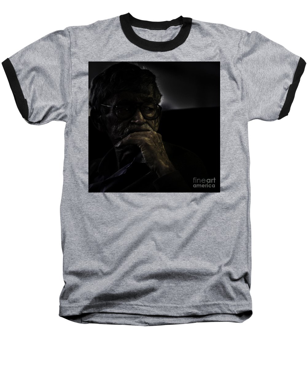 Portrait Baseball T-Shirt featuring the photograph Man On Ferry by Sheila Smart Fine Art Photography