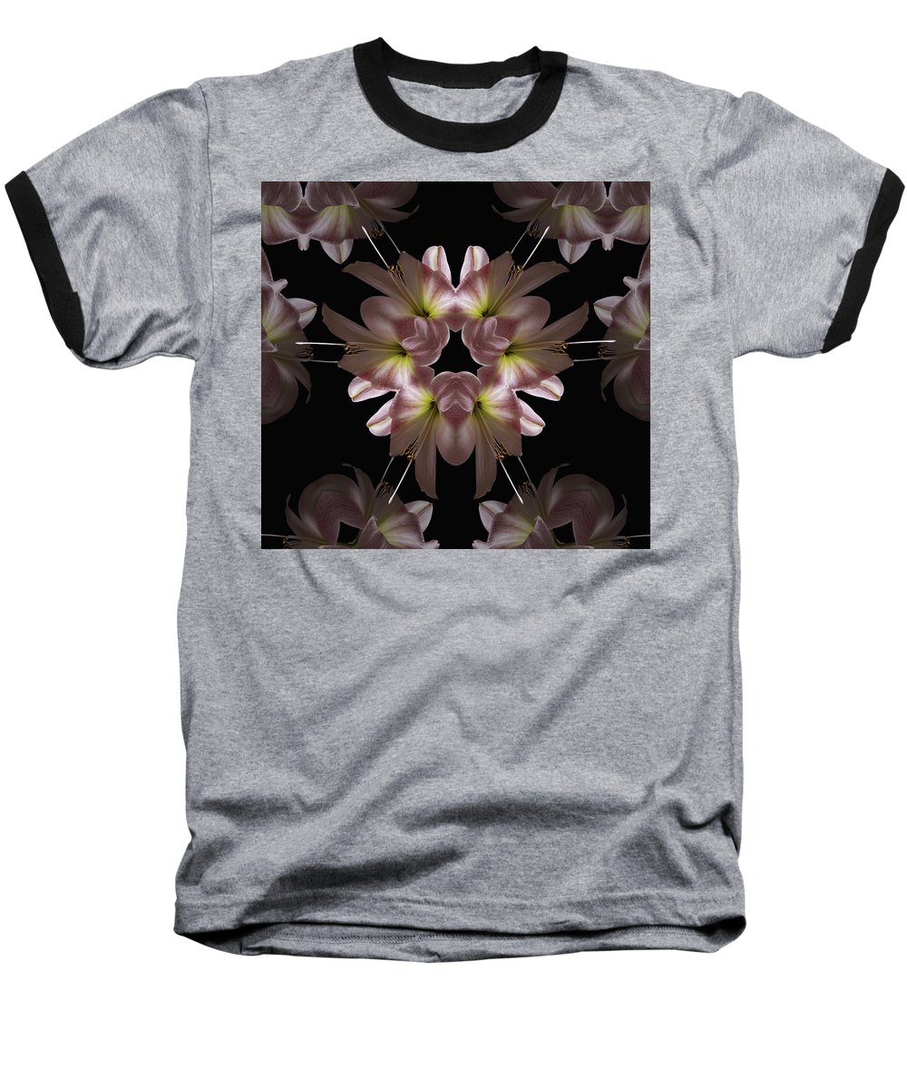 Mandala Baseball T-Shirt featuring the digital art Mandala Amarylis by Nancy Griswold
