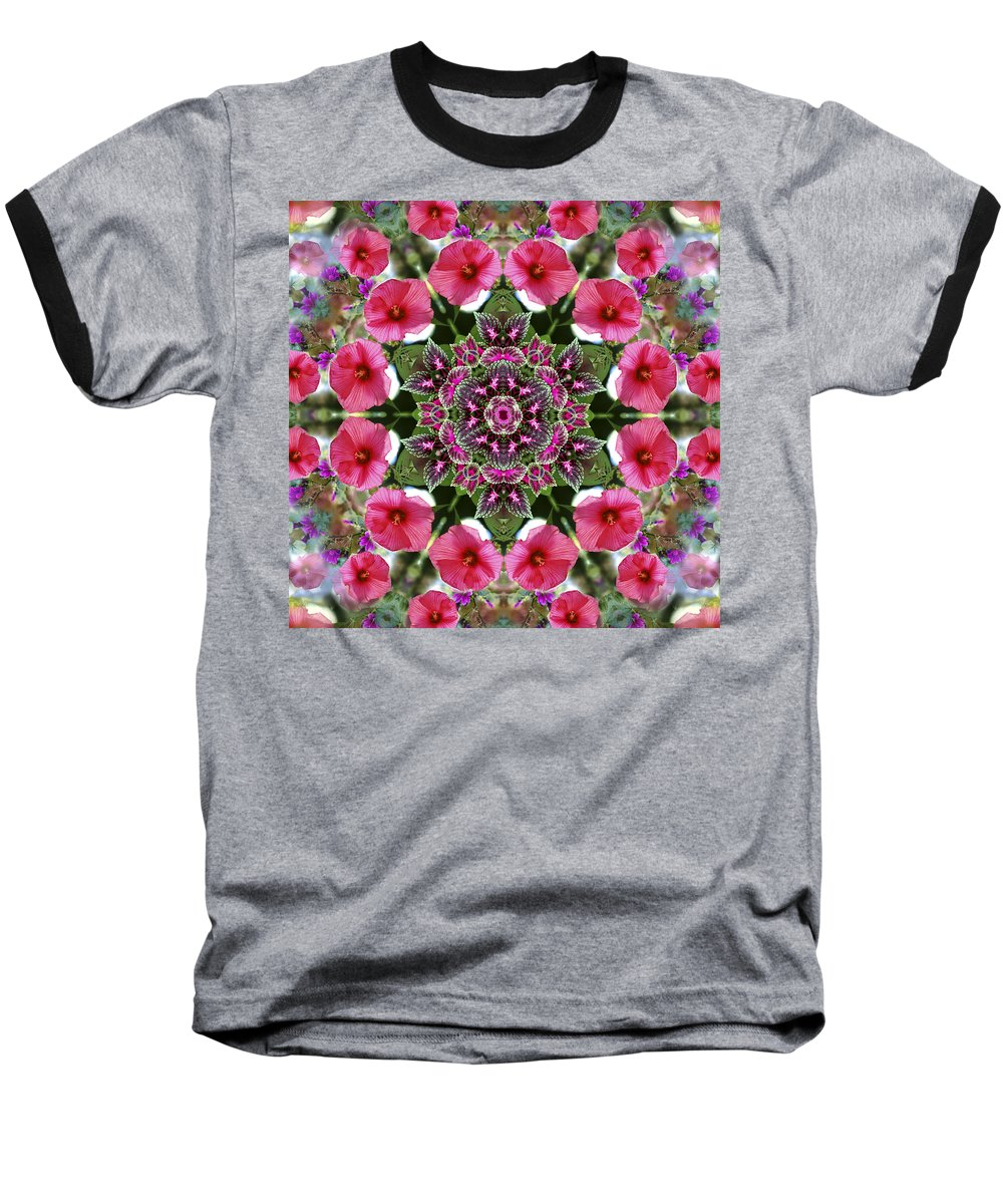 Mandala Baseball T-Shirt featuring the digital art Mandala Pink Patron by Nancy Griswold