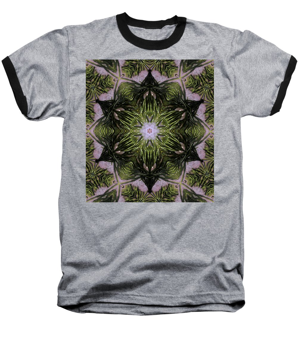 Mandala Baseball T-Shirt featuring the digital art Mandala Sea Sponge by Nancy Griswold