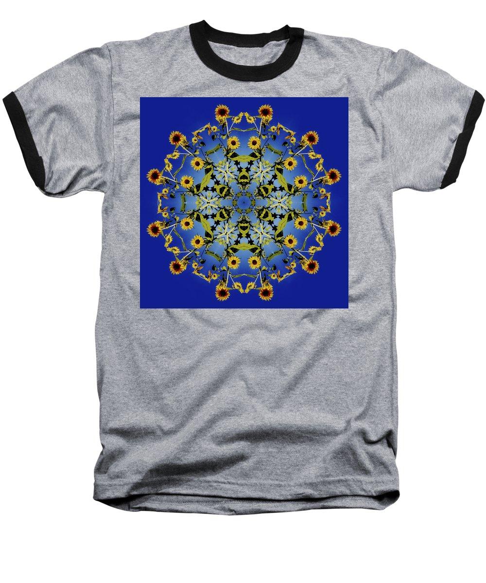 Mandala Baseball T-Shirt featuring the digital art Mandala Sunflower by Nancy Griswold
