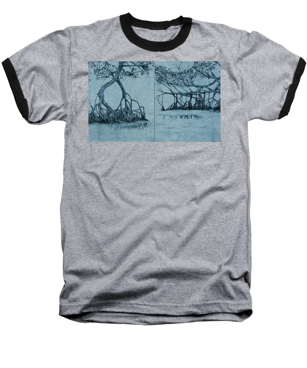 Blue Baseball T-Shirt featuring the painting Mangroves by Leah Tomaino