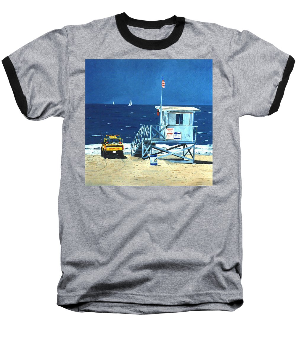 Modern Baseball T-Shirt featuring the painting Manhattan Beach Lifeguard Station by Lance Headlee