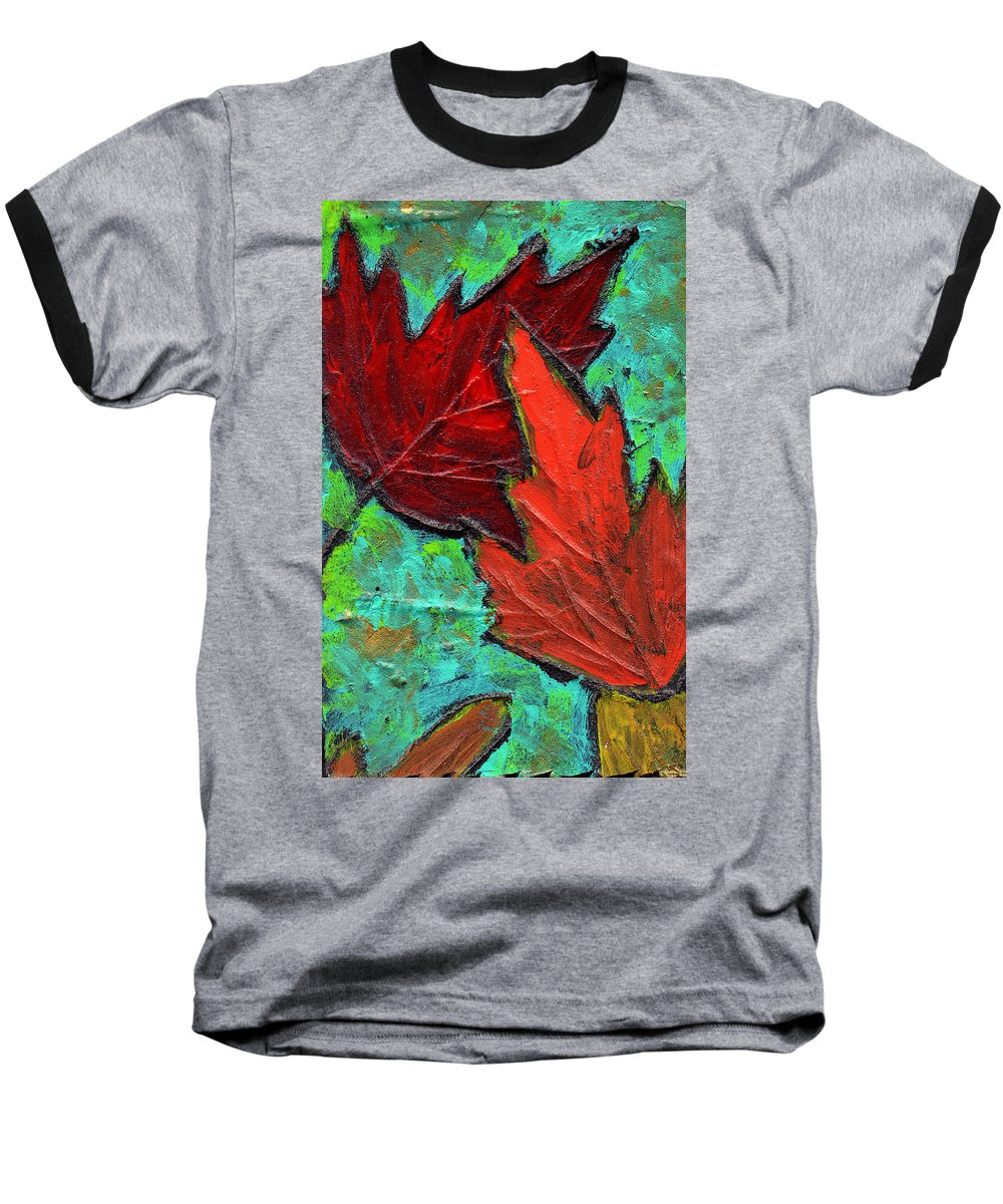 Maple Baseball T-Shirt featuring the painting Maple Leaves by Wayne Potrafka
