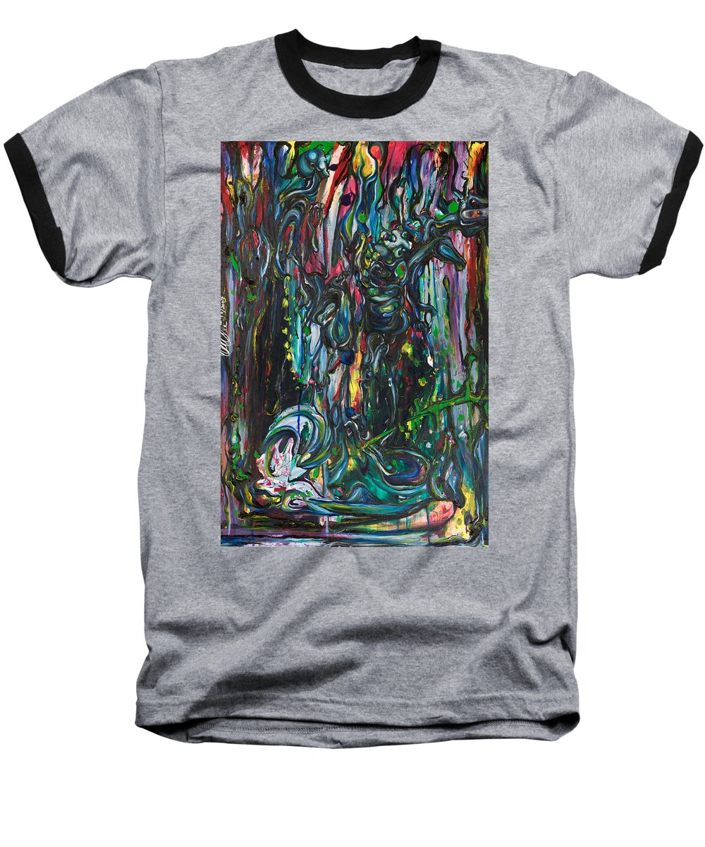 Surreal Baseball T-Shirt featuring the painting March Into The Sea by Sheridan Furrer